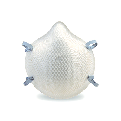 disposable white respirator face mask and blue straps