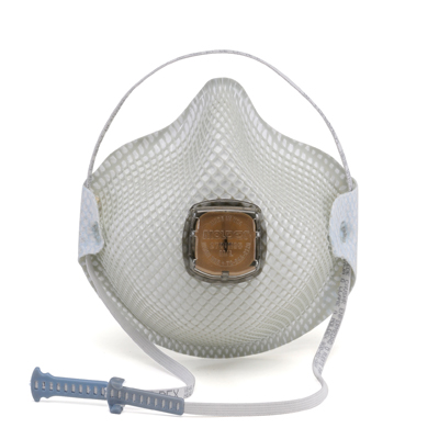 disposable white respirator face mask with vent and including adjustable strap