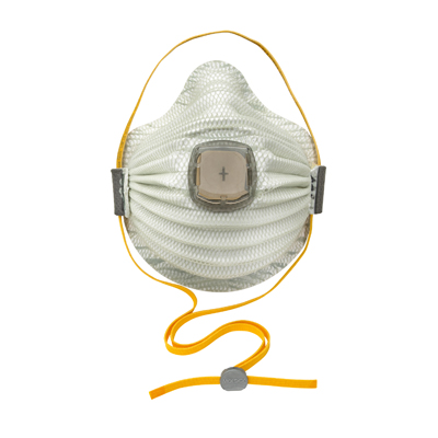 disposable white respirator face mask that has a vent in front
