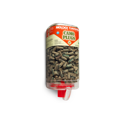 dispenser of disposable earplugs in camouflage