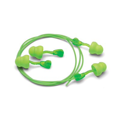 no-roll disposable foam earplugs in bright green