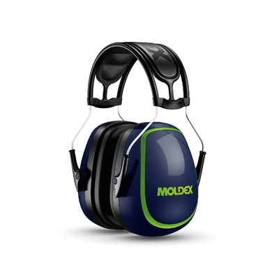 reusable blue and green earmuffs for hearing protection