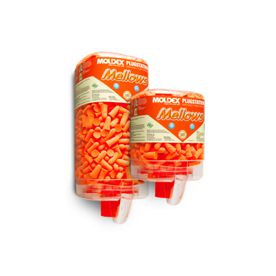 two dispensers of bright-orange disposable earplugs